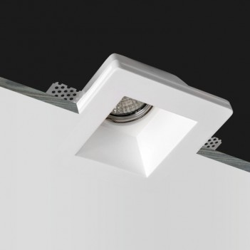 Square High Led Wall Light in Ceramic Plaster for Recessed