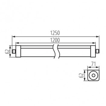 Plafoniera Led Stagna 48W 6500lm 4000K 120cm IP65 – Kanlux