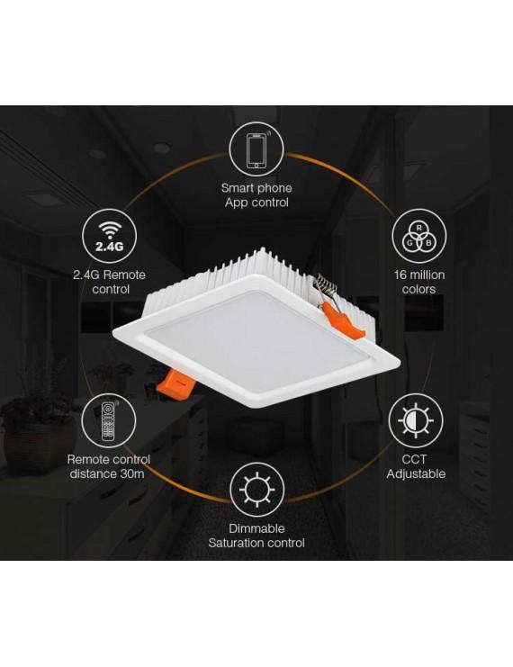 Mi-Light Plafoniera Quadrata da Incasso 9W RGB+CCT WiFi FUT064