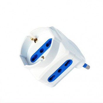 Schuko 3-Seater Bypass Adapter - 16A Plug - Space-saving