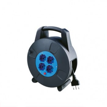 Cable Reel 4 Schuko 10 Meters Bypass with Thermal Protection
