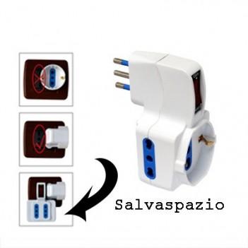 Adattatore 3 Posti Bipasso Schuko Spina 10A con Interruttore -
