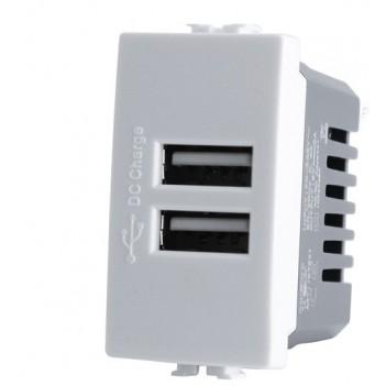 PRESA CON 2X PORTA USB 5V 1A AC/DC DA 1 MODULO BIANCO - SERIE