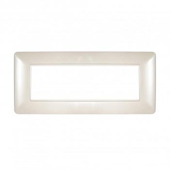 Placca 6 Moduli 6M Bianco Madreperlato compatibile BTICINO MATIX in plastica