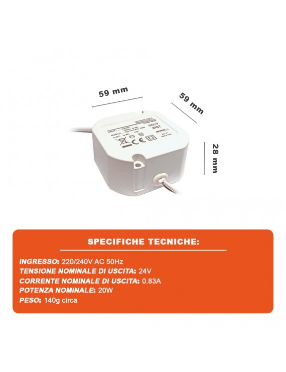 LED Driver 20W da 24V Waterproof IP67