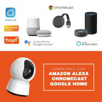 Telecamera di sicurezza Wi-fi Speed 12S Visione a 360° Pan&Tilt compatibile con alexa e google home