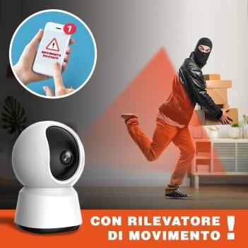 Telecamera di sicurezza Wi-fi Speed 12S Visione a 360° Pan&Tilt con rilevatore di movimento