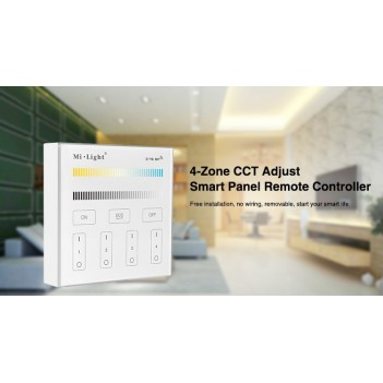 Mi-Light Wall Panel WiFi Dual White CCT Dimmer 4 Zone Full