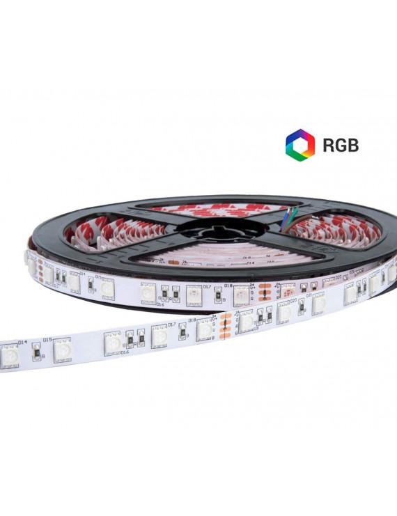 Ruban à LED Multicolore 24V 72W RGB 5mt 300 SMD 5050 Outdoor