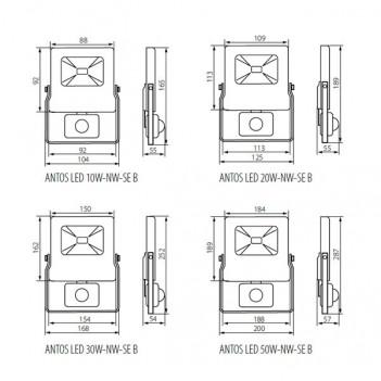 Faro Proiettore a Led da Esterno Nero 50W 4000lm IP65 con