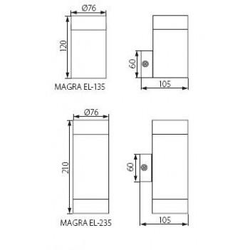 Applique da Muro Up&Down per 2 Faretti Led GU10 - da Esterno