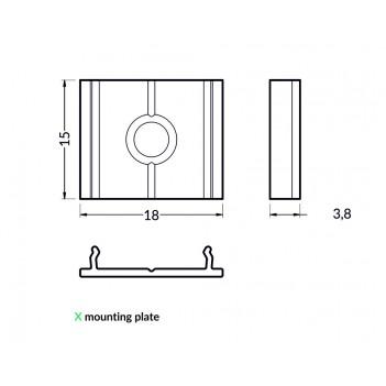 Set 2 Ganci X per Profilo in Alluminio