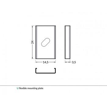 Set 2 Ganci U PLATE per Profilo in Alluminio