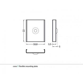 Set 2 Ganci Y CONE per Profilo in Alluminio