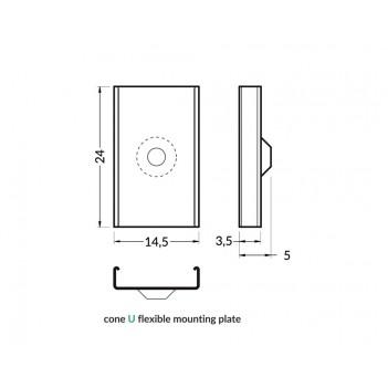 Set 2 Ganci U CONE per Profilo in Alluminio