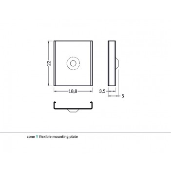 Set 2 Ganci S CONE per Profilo in Alluminio
