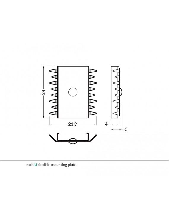Set 2 Ganci U RACK per Profilo in Alluminio