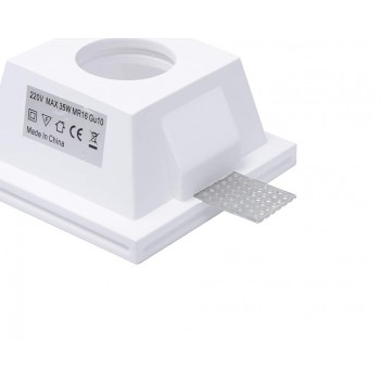 Square Glass Led Wall Light in Ceramic Plaster for Recessed