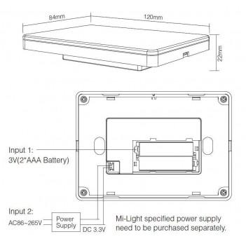 MI-LIGHT Telecomando da Muro Wi-Fi RGB+CCT 4 Zone Full Touch M4