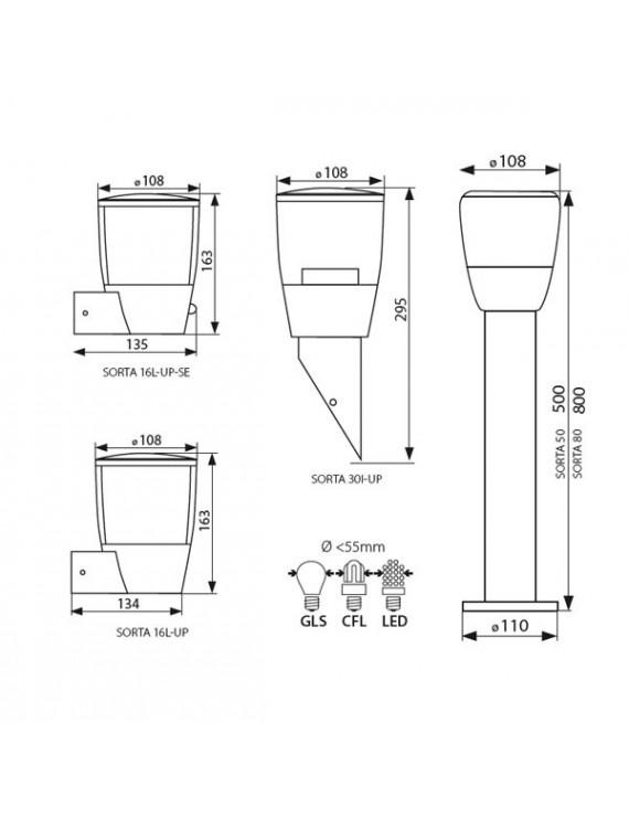 Applique da Giardino Luce da Esterno per E27 - IP44 - SORTA