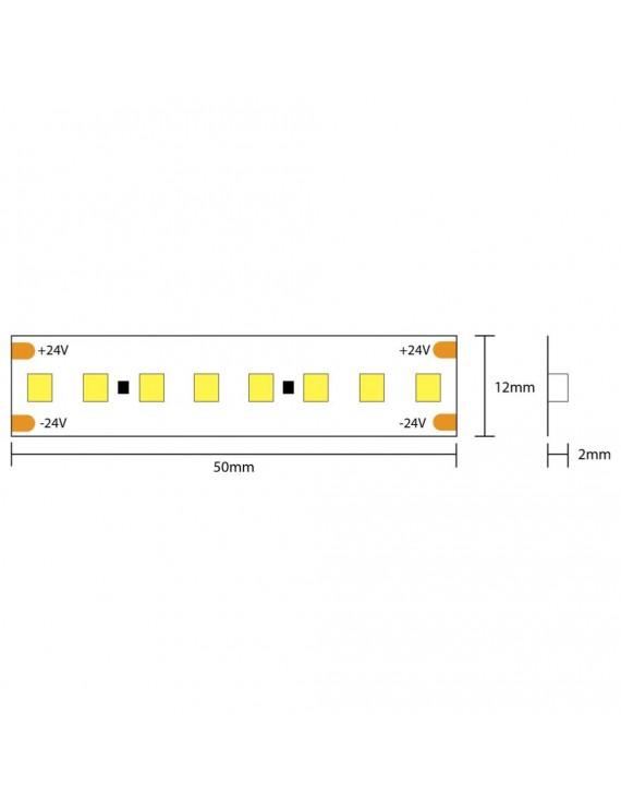 Striscia Led High CRI 95+ 130W 15600lm 24V IP20 PCB 12mm Bobina