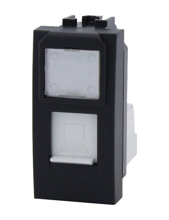 Connettore UTP RJ45 PLUG 8-8 1 Modulo Nero - INTERNET LAN -