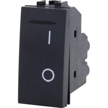 Interruttore da 1 Modulo 2 Poli 16° Nero – Serie VING
