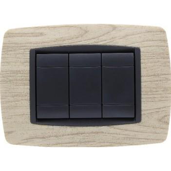 Placca Cornice 3 Moduli Legno Chiaro – Serie VING