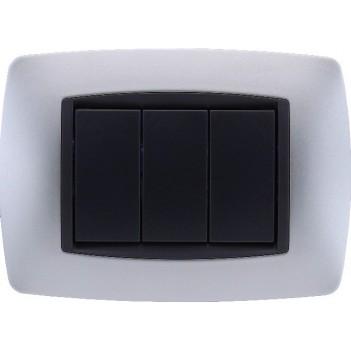 Placca Cornice 3 Moduli Silver – Serie VING