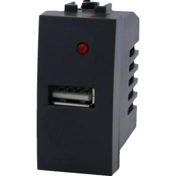 Presa con Porta USB 5V 1A AC/DC da 1 Modulo – Serie VING