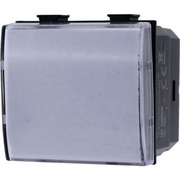 Pulsante 2 Moduli 1 Polo 10A - Porta Nome Citofono - Serie Tix
