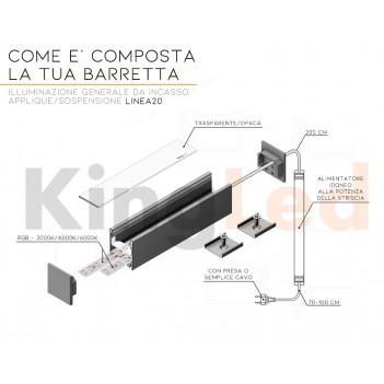 Barra Led Lineare Personalizzata e su Misura - Sospensione