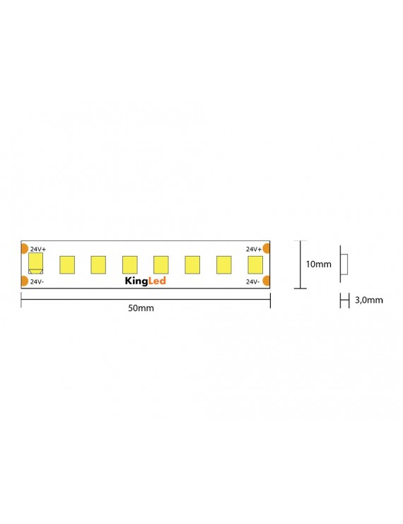 Striscia led serie H.E. 130W 18000lm 24V IP20 PCB 10mm bobina