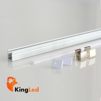Profilo Alluminio 1mt L047 Superslim 7mm + Cover + Ganci +