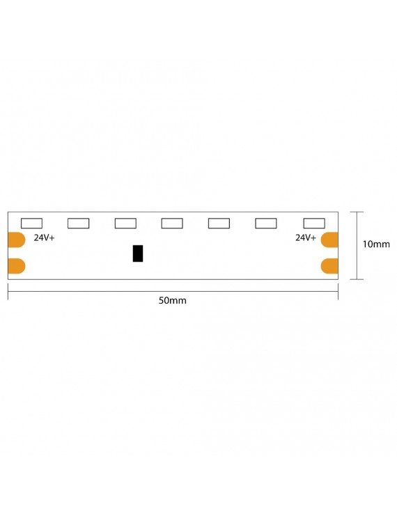 Striscia Led Side View 48W 2400lm 24V IP20 PCB 8mm Bobina da