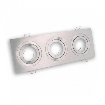 Portafaretto Rettangolare Alluminio Incasso per 3X Faretto Led