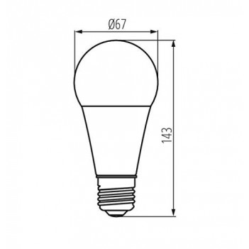 Lampadina Led E27 19W 2600lm Diametro 67mm