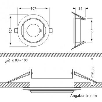 Portafaretto da Incasso per Lampada Led GX53 Foro 90mm - Bronzo