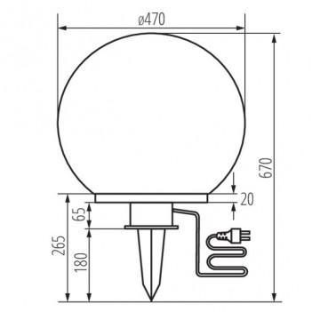 Lampada Sfera da Giardino per E27 - da Esterno IP44 - IDAVA 47