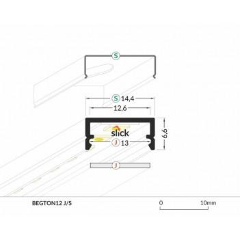 Profilo in Alluminio Modello BEGTON12 - Anodizzato J-S