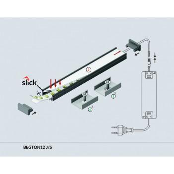 Profilo in Alluminio Modello BEGTON12 - Nero J-S