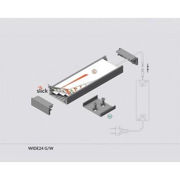 Profilo in Alluminio Modello WIDE24 - Bianco G-W