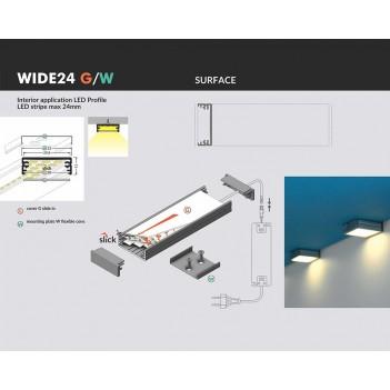 Profilo in Alluminio Modello WIDE24 - Nero G-W