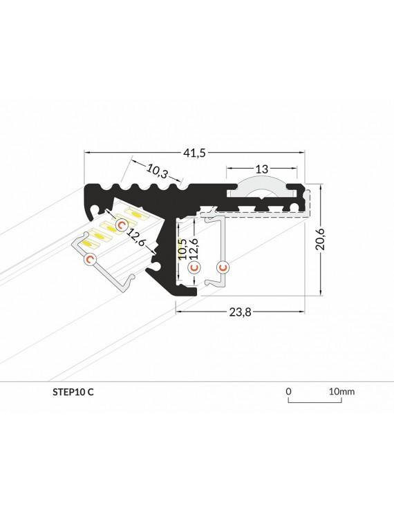 Profilo in Alluminio Modello STEP10 - Nero C