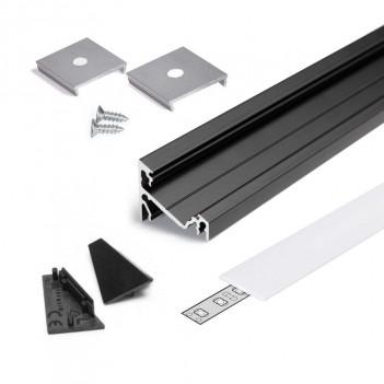 Profilo in Alluminio Angolare 30°/60° Modello CORNER14 - Nero