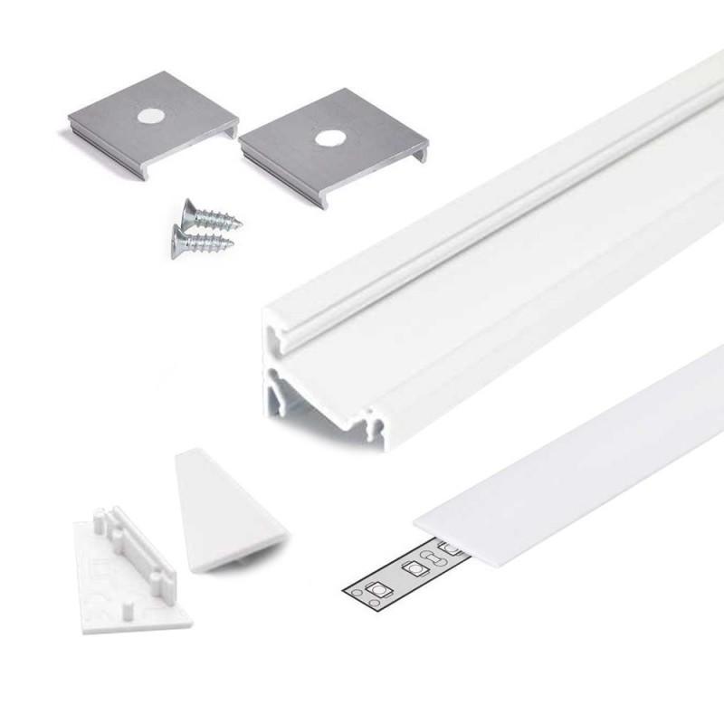 Profilo in Alluminio Angolare 30°/60° Modello CORNER14 - Bianco