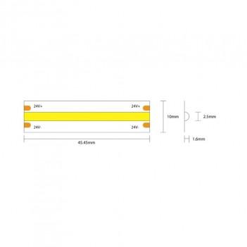 Striscia Led COB 75W 8000lm 24V IP20 PCB 10mm Chip Led Continua
