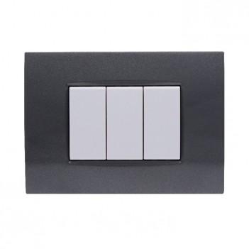 Placca cornice 3 Moduli Acciaio Scuro Quadra Compatibile
