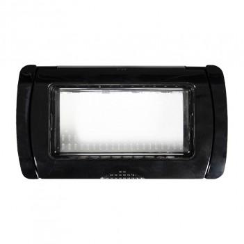 Placca Idrobox IP55 4 Moduli T2 S6004B/N Bianco / Nero