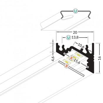 Profilo in Alluminio Angolare 30°/60° Modello CORNER10 - Bianco